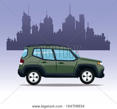 suv car utility city background vector illustration eps 10