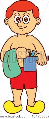 Man with Towel and Bailer for Bathing Preparation Cartoon Illustration