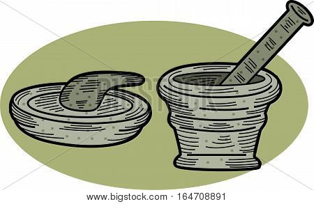 Mortar and Pestle Traditional Kitchen Tools Illustration