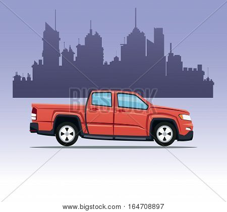 red pick up double cab city background vector illustration eps 10