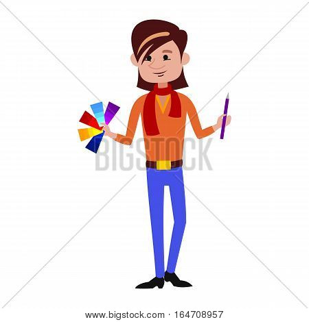 Designer man of an interior office, occupation lifestyle character. Creative business worker young person. Fashion professional student style artist graphic job.