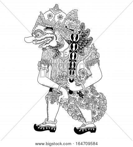 Cingkarabala, a character of traditional puppet show, wayang kulit from java indonesia.