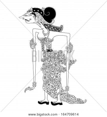 Dewi Winata, a character of traditional puppet show, wayang kulit from java indonesia.