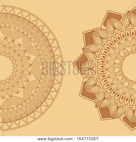 two mandala spiritual hinduism vintage vector illustration eps 10