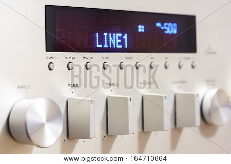 Silver sound amplifier receiver front panel display