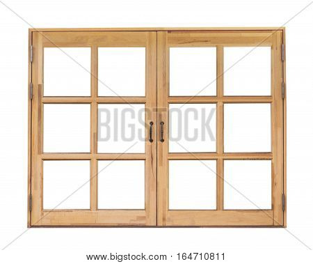 Wooden classic window isolated on white background