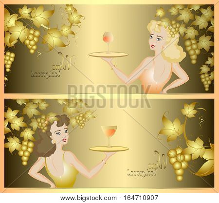 Double wine background with a golden bunch of grapes and waitress. EPS10 vector illustration.