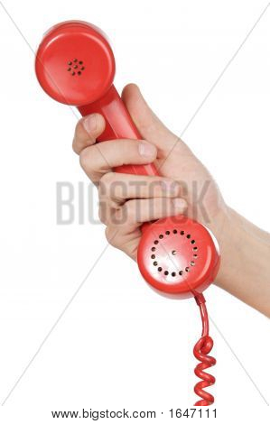 Hand Holding Red Telephone