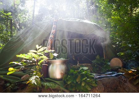 Mexican or Indian Sauna Hut. Sweat lodge.