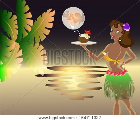 Sunset on the sea with the moon with the waitress with an exotic cocktail in a coconut with a palm leaf. EPS10 vector illustration.