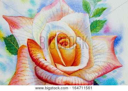 Painting flower orange pink color of roses close up and emotion in blud sky background. Watercolor hand painted illustration.