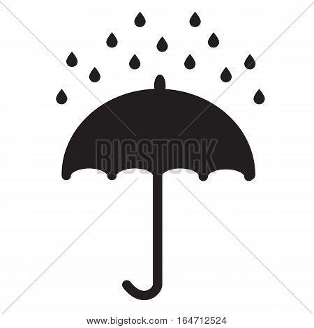 Umbrella and rain drops on white background. Umbrella and rain drops sign.