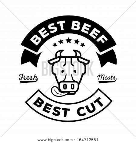 best beef logo with cow stick out tongue illustration with fresh meat word guarantee.