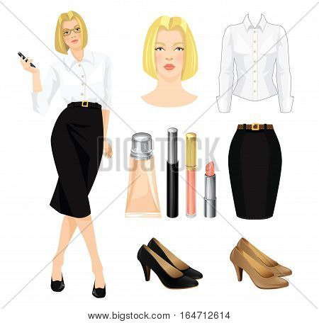 Vector illustration of corporate dress code. Secretary or professor in black formal dress and beige shoes.