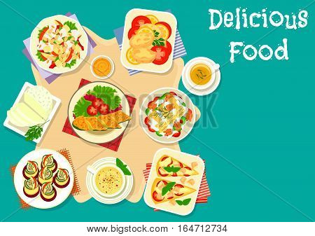 Healthy cheese dish icon of apple pepper salad with cheese, stuffed pasta with milk sauce, tomato cheese pie, fried cheese, zucchini roll with herring, zucchini cream soup, bryndza, stuffed zucchini