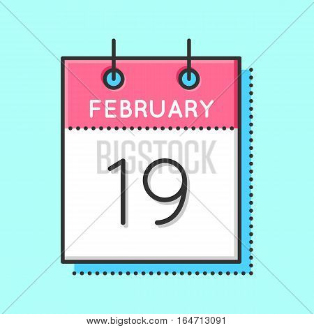 Vector Calendar Icon. Flat and thin line vector illustration. Calendar sheet on light blue background. February 19th. Chinese new year. World whale day