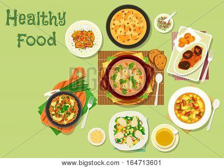 Lunch dishes with mushroom icon of chicken mushroom salad, vegetable soup, pork baked in mushroom sauce, potato cheese pie, chanterelle soup, mushroom bacon casserole, mushroom tempura with rice