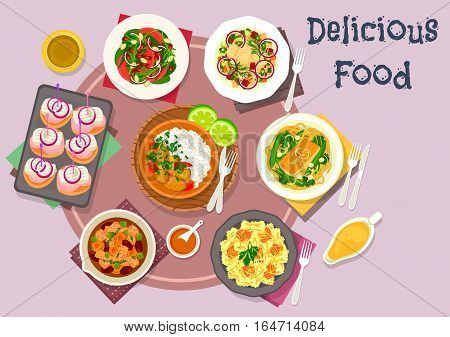 Hot meat dishes with fish snack and salad icon of salmon pasta with cheese, beef bean stew, salmon noodle with bean, pork curry, potato pancake with herring, beet herring salad, orange almond salad