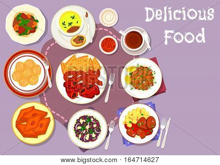 Turkish and balkan cuisine icon of kebab with grilled pepper, chicken liver with vegetables, baked beef, seafood risotto, meat dumpling, fried fish, liver pate, honey baklava with almond nuts
