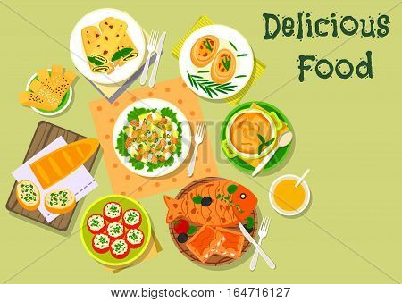 Fish and cheese dinner dishes icon with tomato stuffed with cheese, vegetable salad with salmon, potato casserole, cheese bread stick, fish pie, pancake with pesto sauce, fish cutlet, herring sandwich