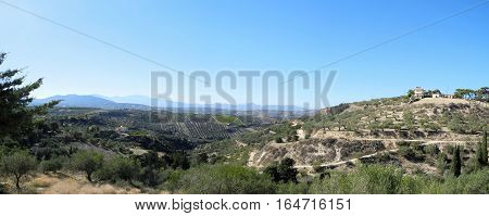 island of Crete high mountains panorama trees olives