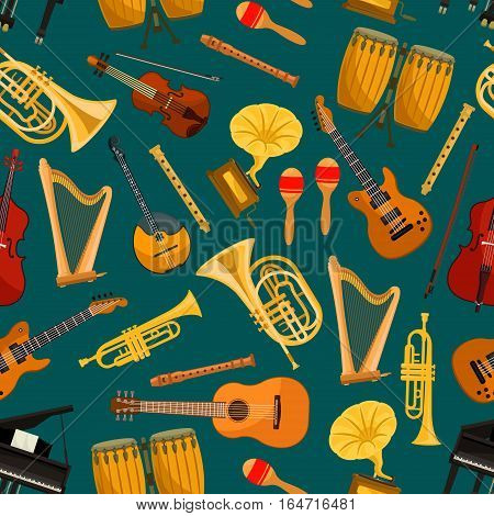 Music instruments seamless pattern. Vector background of string and wind musical instrument symbols and icons of piano, violin, electric guitar, saxophone, harp, drum, cymbal, trumpet,