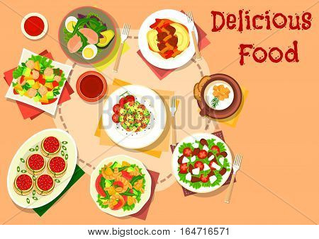 Snack and salad dishes icon with shrimp and fruit salad, stuffed pasta with tomato sauce, avocado salads with tuna, egg and pear, tomato feta salad, cauliflower cream soup and mashed potato with beef