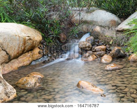 Mini waterfall and stone in the natural park