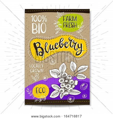 Colorful label in sketch style, food, spices, cardboard textured background. Blueberry Fruits. Bio, eco, farm, fresh. locally grown. Hand drawn vector illustration
