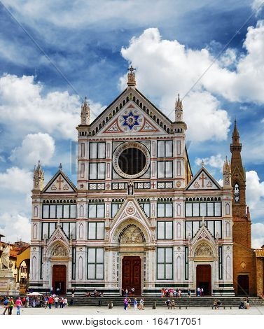 Facade Of The Basilica Santa Croce In Florence, Tuscany, Italy