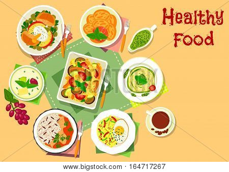 Main dishes with dessert icon of vegetable pasta casserole, fish with rice, spaghetti with pesto, lentil salad with fish, egg and apple, warm cabbage salad, cream and fruit jelly dessert, potato snack