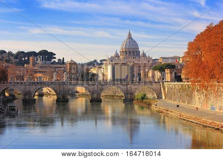 autumn landscape with view at Vatican City and Sant'Angelo's Bridge , Rome, Italy