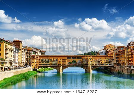 View Of The Ponte Vecchio Over The Arno River, Florence, Italy