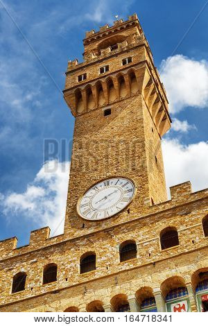 Bell Tower And Clock Of The Palazzo Vecchio, Florence, Italy