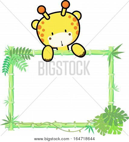 cute baby giraffe on blank board with bamboo frame isolated on white background