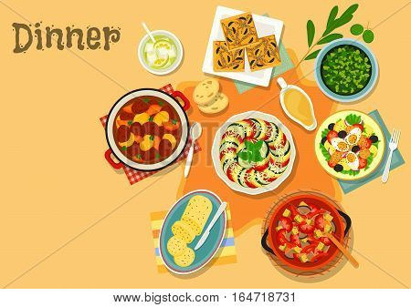French cuisine vegetable, meat dishes icon of vegetable stew with tomato, eggplant and pepper, beef and pork stew, chicken salad with egg and tomato, onion pie, olive and garlic sauce, flavored butter