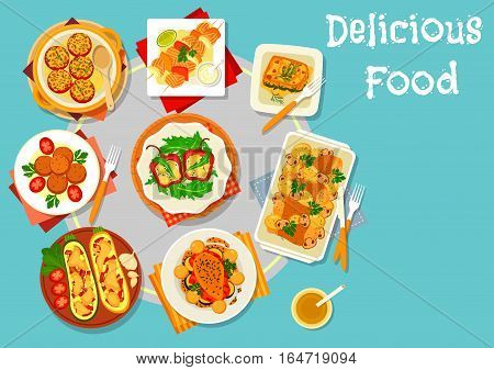 Baked dishes for healthy lunch icon of baked pork with vegetables, stuffed pepper, tomato, zucchini with baked veggies and cheese, grilled salmon, potato mushroom casserole, fish ball, spinach lasagna