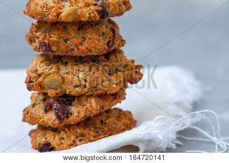Homemade healthy cookies with berries and seeds.