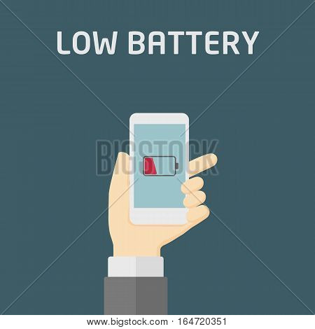 Hand Holding Smartphone with Low Battery sign