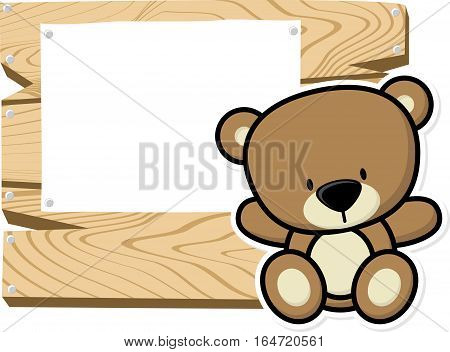 illustration of cute baby teddy bear on wooden board with blank sign isolated on white background