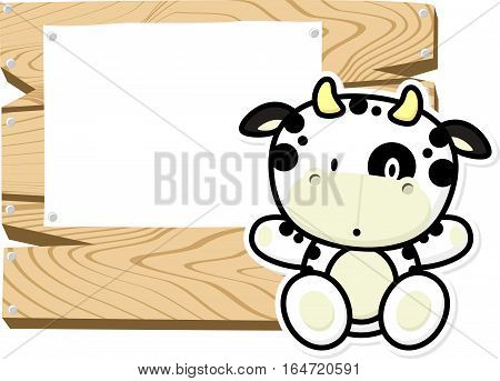 illustration of cute baby cow on wooden board with blank sign isolated on white background
