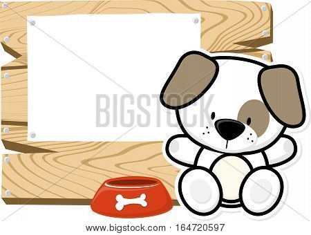 illustration of cute baby puppy on wooden board with blank sign isolated on white background