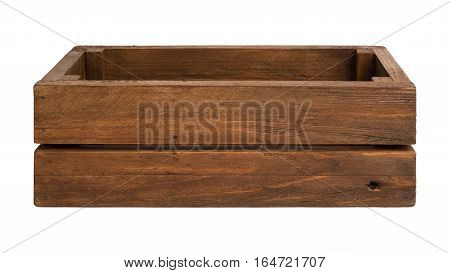 Empty aged wooden box isolated on white background