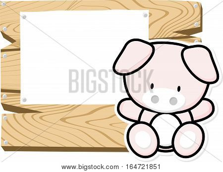 illustration of cute baby pig on wooden board with blank sign isolated on white background