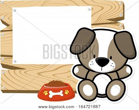 illustration of cute baby dog on wooden board with blank sign isolated on white background