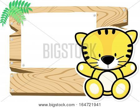 illustration of cute baby tiger on wooden board with blank sign isolated on white background