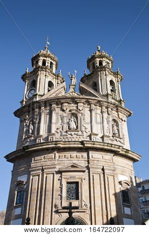 Detail of La Peregrina Church. It is one of the most emblematic places of the city of Pontevedra, Galicia, Spain. It was built in 1778 in late baroque style with neoclassical elements