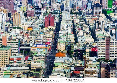 KAOHSIUNG TAIWAN - NOVEMBER 24: This is a view of downtown Kaohsiung financial district on November 24 2016 in Kaohsiung