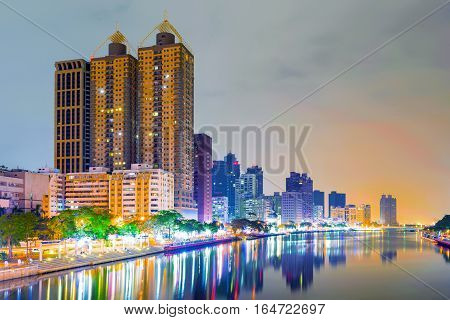 Kaohsiung financial district buildings along the love river