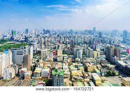 High view of Kaohsiung downtown area on a sunny day